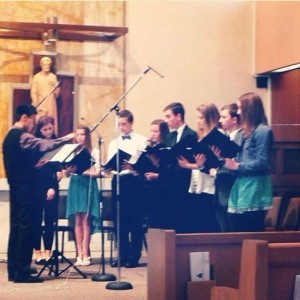 The Catholic Crew Choir singing at Mass.